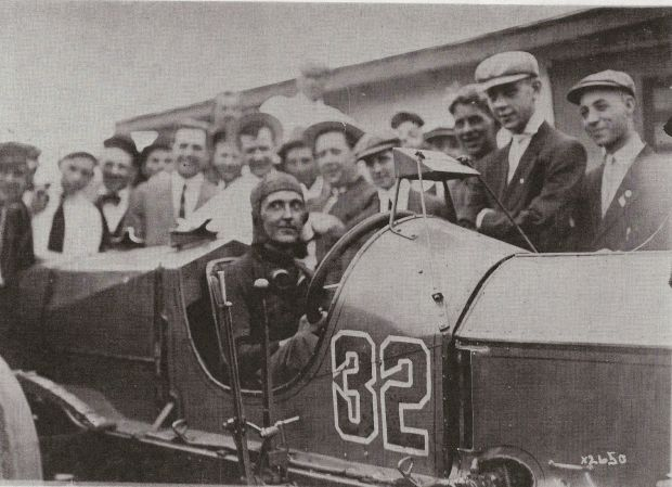 1911 Indy 500 winner Ray Harroun in his Marmon Wasp fitted with the first Rear View Mirror. PHOTO: Maxim