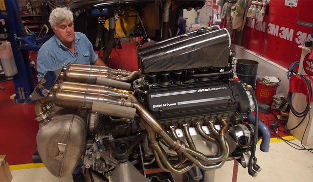 Jay Leno and The V12 F1 engine built by BMW from his F1. Photo: YouTube