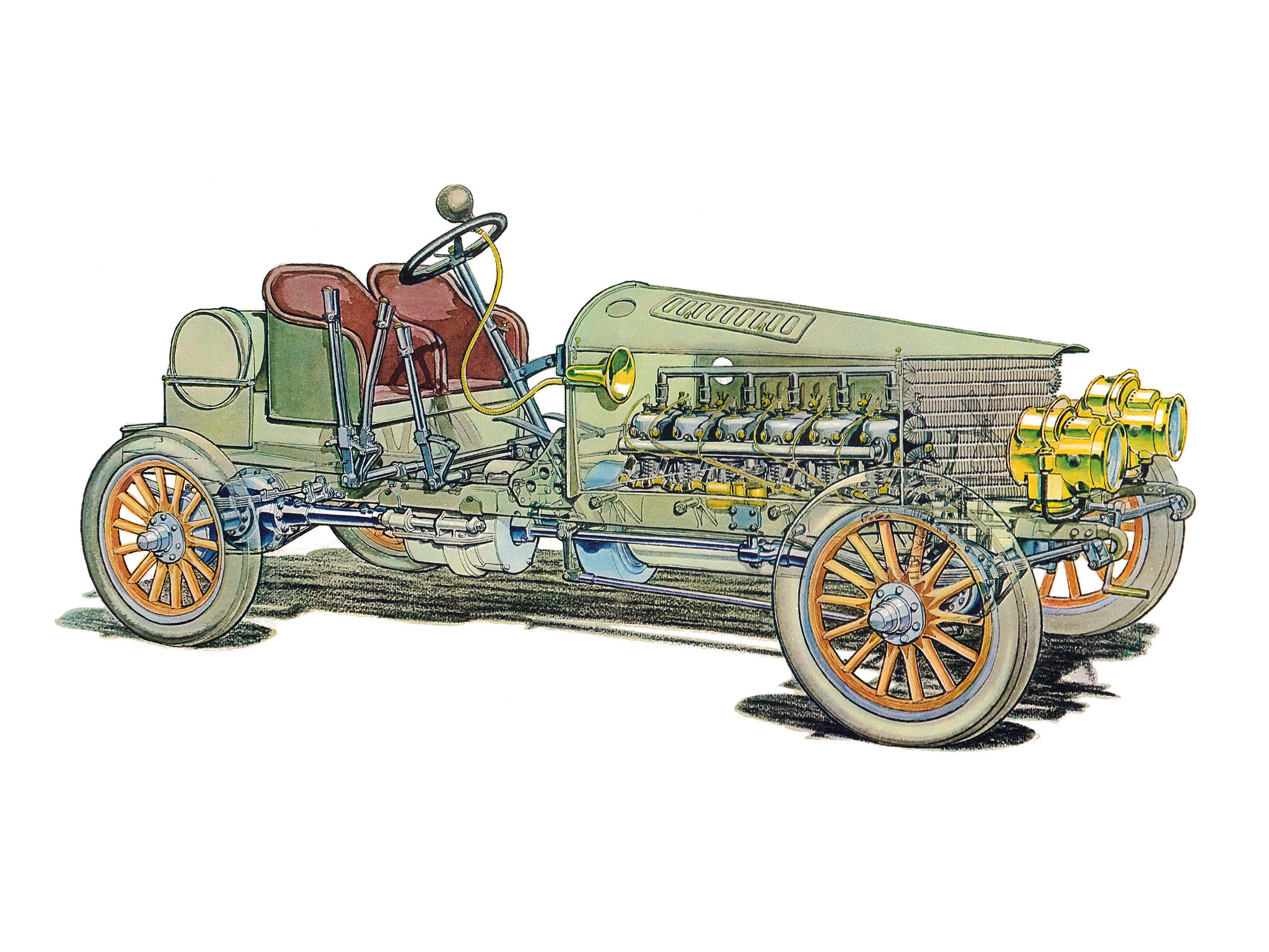 Rendering of what the inner workings of the Spyker 60 H.P. PHOTO: Wheelsage