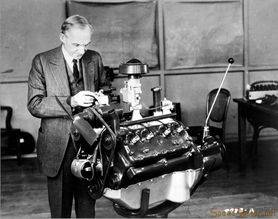 Henry Ford with the 1932 Flathead V8 Photo: curbsideclassic