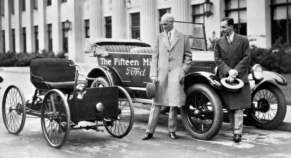 Henry and Edsel Ford with the 1896 Quadracycle and the 15 millionth Ford vehicle.